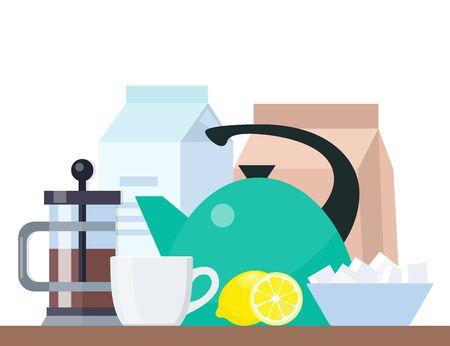 Tea time poster concept. Tea party composition. Teapot, cup, sugar, lemon, milk. All for tea time, breakfast Flat vector illustration Vettoriali