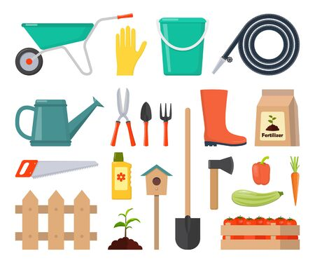 Colorful vector set of garden icons: garden tools, equipment, planting process, harvest. Flat style vector ollustration