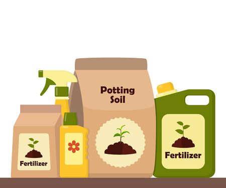 Packing with soil for potted plants. Potting soil, various fertilizers in bottles and spray gun. Vector illustration in flat style Illusztráció