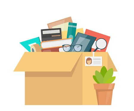 Office accessories in cardboard box. Working stuff, documents, plant, photo frame, calculator, glasses. Moving into a new office. Flat style vector illustration Vettoriali