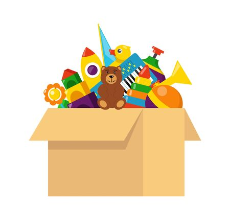 Kids toy box full of toys. Cubes, whirligig, duck, ball rattle, pyramid, pipe, bear, ball, rocket tambourine boat Modern flat style vector illustration
