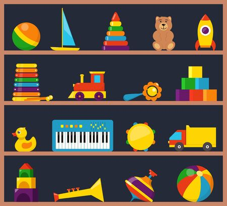 Colorful children toys on wooden shelves. Cubes, whirligig, duck, ball rattle, truck, pyramid, pipe, bear, ball, rocket tambourine boat accordion train drum Flat style vector