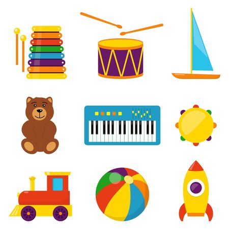 Colorful children toys, set of vector icons in flat style. Bear, ball, rocket, tambourine, boat, accordion, train, drum Toys for kids