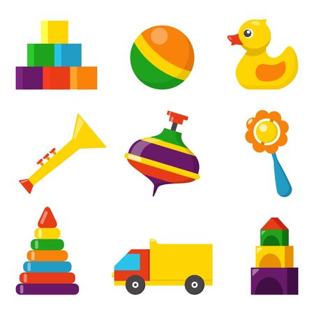 Colorful children toys, set of vector icons in flat style. Cubes, whirligig, duck, ball rattle, truck, pyramid, pipe. Toys for kids