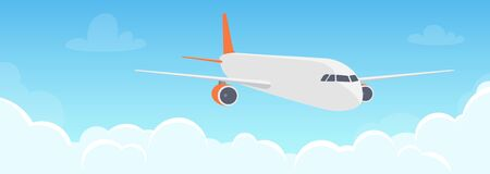 Flying plane above the clouds. Aircraft in the sky. Travel concept illustration for advertising airline, website to search for air tickets, travel agency. Traveling flyer, banner, vector illustration Vettoriali