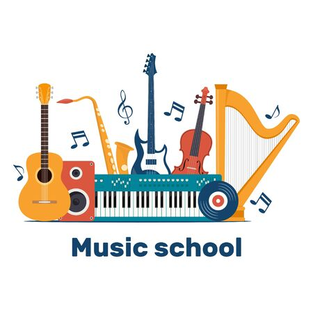 Composition with musical instruments and vinyl record. Music school invitation. Guitar, synthesizer, violin, cello, drum, cymbals, saxophone, accordion tambourine trumpet harp loudspeaker Vector illustration