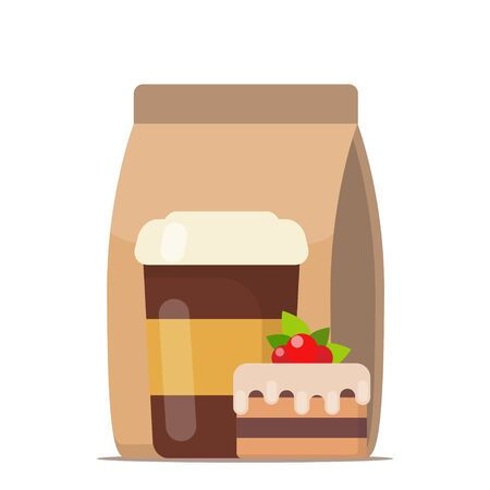 Coffee to go and cake. Fast food, cofffe to go, breakfast. Vector illustration in flat style Vettoriali