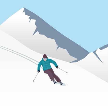 Winter mountain landscape with skier, racing down the slope. Winter sports vacation banner. Vector illustration