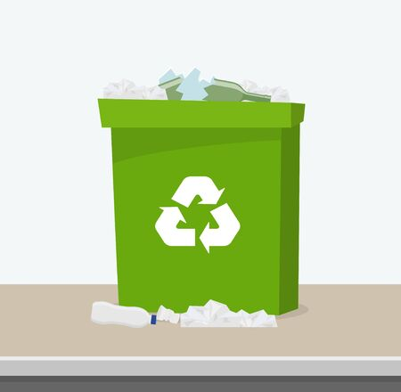 Container with waste. Recycling and sorting garbage. Green trash bin with recycling symbol. Bin full of garbage. Vector illustration