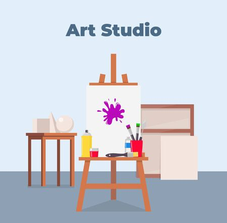 Art studio interior. Easel, canvas, paint and all necessary tools for drawing. Beautiful composition for advertising art studio. Vector flat illustration Vettoriali