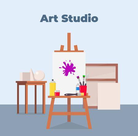 Art studio interior. Easel, canvas, paint and all necessary tools for drawing. Beautiful composition for advertising art studio. Vector flat illustration Illusztráció