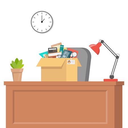 Office accessories in cardboard box on office table. Working stuff, documents, plant, photo frame, calculator, glasses, lamp. Moving into a new office. Flat style vector illustration Ilustrace