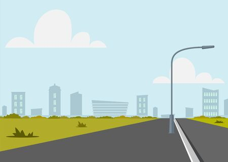 Road empty city street. Empty street or alley in a city park. Street on a Sunny summer day. Flat Vector Illustration