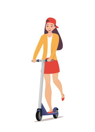 Cute girl riding kick scooter. Teen girl in short skirt, jacket and baseball cap rides on scooter. Young charming female character on kick scooter, vector in flat style