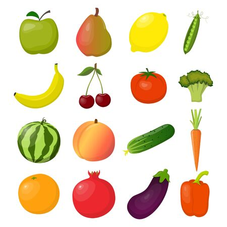 Set of fresh fruits and vegetables, bright and colorful, isolated on white. Vector flat illustration