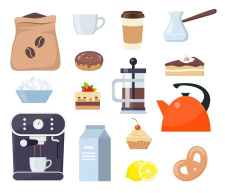 Coffee or tea time, set of elements. Breakfast with coffee and cake. Coffee machine, cup, cake, milk, sugar, teapot, kettle, lemon Vector illustration flat style