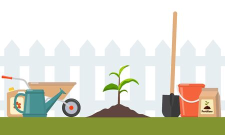 Just planted in the ground sprout and garden tools around. Seedling fruit tree with shovel, fertilizers and watering can. Illustration for agricultural booklets, flyers garden Reklamní fotografie - 138114715