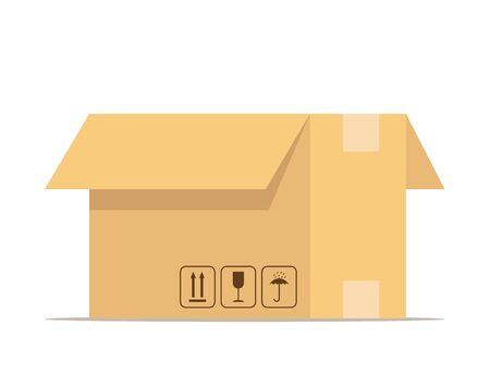 Open box. Carton delivery packaging with fragile signs. Box for packaging goods or belongings for moving. Vector illustration isolated on white Vettoriali