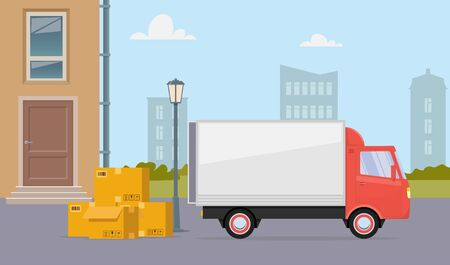 Moving truck and cardboard boxes on city street. Moving House. Transport company. Vector flat illustration