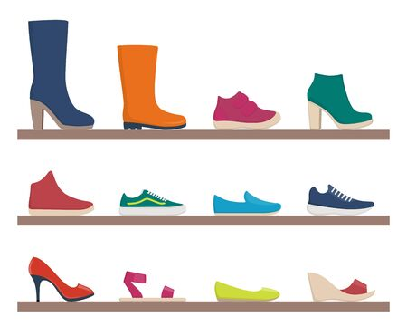 Various footwear, set of icons. Colorful shoes and boots for women and men. Vector illustration. Collection for shop and fashion Vettoriali