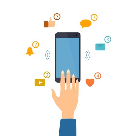 Hand reaches for the smartphone for checking social network push notification. Social media influence. Social network addiction concept illustration. Vector