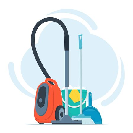 Tools for cleaning and housework. Vacuum cleaner, floor sweeping brush, dustpan, bucket of water and soap suds. Cute flat style vector illustration