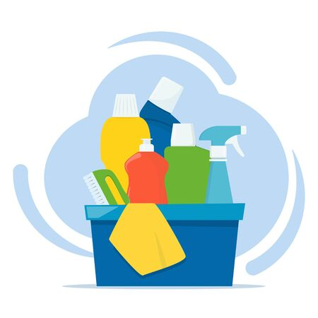 Bottles of detergents and cleaning products in a box, rag and cleaning brush. Cleaning services concept. Vector illustration, flat style Illustration