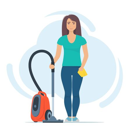 Cute woman character stands with vacuum cleaner and rag. Cleaning concept vector illustration. Woman cleans the house. Cleaning service. Spring cleaning Illustration