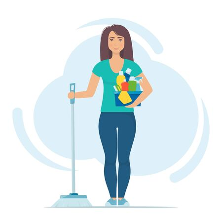 Cute woman character stands with brush for sweeping the floor and set of detergents. Cleaning concept vector illustration. Woman cleans the house. Cleaning service. Spring cleaning