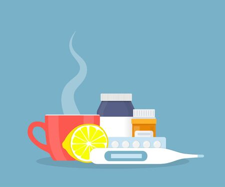 Medical concept. Cold, flu, cough drugs: medicinal syrup, pills, capsules, cup of hot drink, thermometer, lemon Vector illustration in a flat style