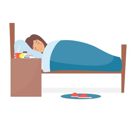 Girl with flu. Flat female character lying in bed. Cold medicine is on the nightstand. Medicinal syrup, pills, capsules, cup of hot drink, thermometer, lemon. Vector illustration Illustration
