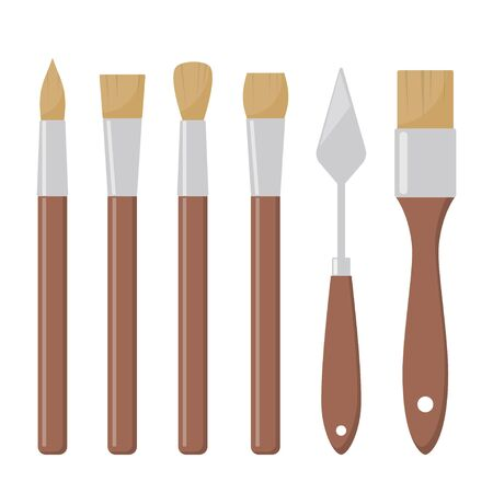 Tools for painting. Paint brushes, various forms. Different artist brushes, palette knife, icon set. Vector flat illustration, isolated Foto de archivo - 141225646