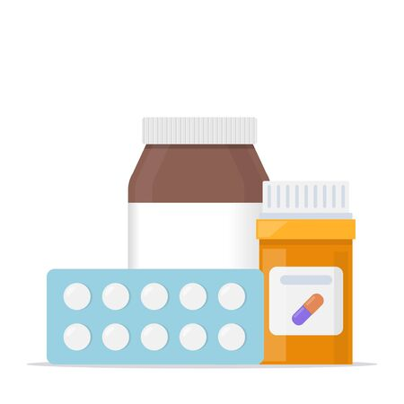 Medicine, pharmacy concept. Vials of medicines, tablets, capsules. Drug, medication, plastic bottle with pills, set of icons Vector illustration