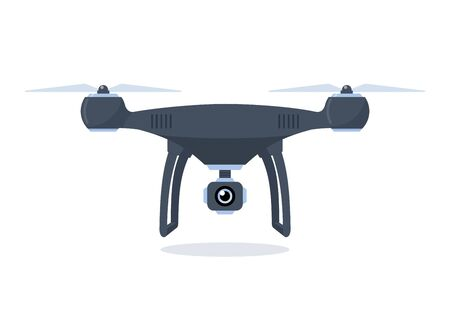 Drone with action camera. Quadcopter isolated on white background. Vector flat illustration Illustration