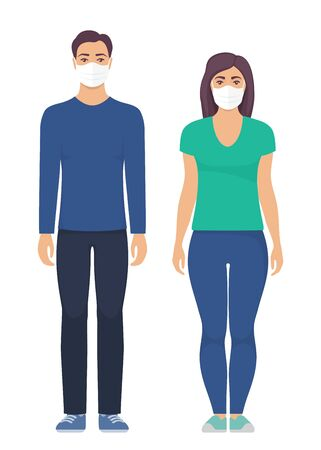 Man and women with protective medical mask on face for prevent virus. People in surgical mask. Vector illustration in flat style