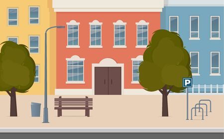 City street with houses facades. Urban landscape. City buildings along wide street with trees, bench, street lamp and bicycle parking. Vector illustration in flat style