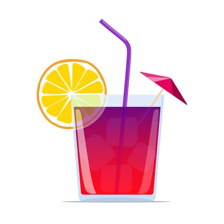 Exotic cocktail with straw, lemon wedge and umbrella. Summer beach bar cocktail. Vector illustration