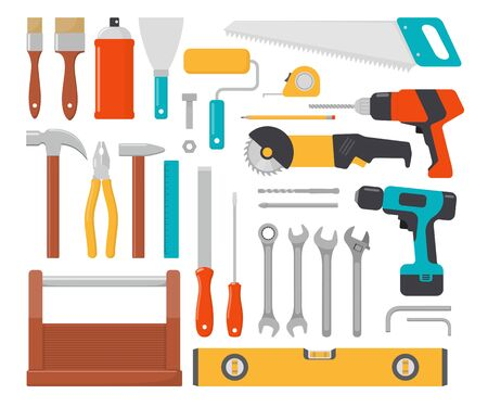 Collection of working tools. Repair and construction tools icon set. Hammer, pliers, chisel, file, screwdriver, brush, spatula, wrench, saw, drill ruler grinder tool box Vector flat illustration