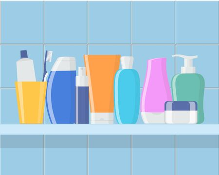 Shelf in the bathroom with cosmetic bottles. Cream, shampoo, gel, spray, tube, soap, toothpaste and toothbrush. Skin and body care, toiletres. Products for beauty and cleanser. Vector Illustration