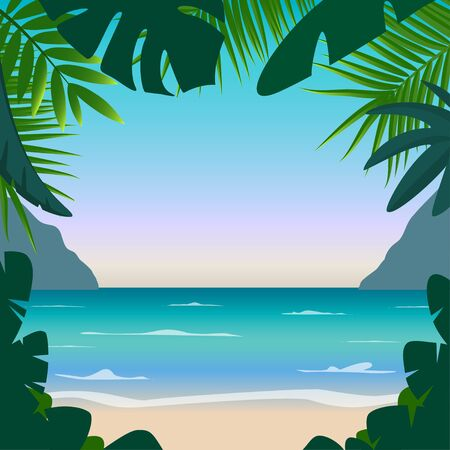 Summer background with sea, sand, palms, mountains and place for your text. Good for flyer, booklets, poster. Vector colorful illustration in flat style