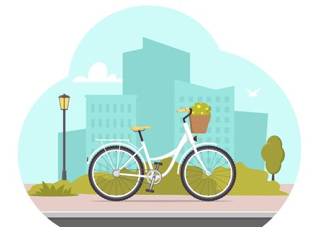 Cute bicycle on city silhouette background. Bike concept illustration for app or website. Modern transport. Flat style vector illustration