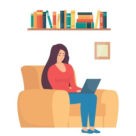 Woman sitting in chair with laptop. Girl with laptop doing remote work. Online freelance work concept illustration. Working from home. Modern flat style vector