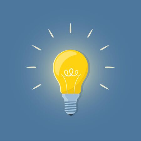 Light bulb, creative idea and innovation. Bulb on blue background. Vector illustration in flat style Archivio Fotografico - 145008194