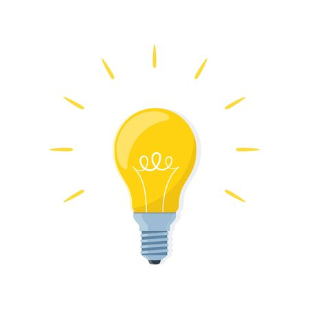 Light bulb, creative idea and innovation. Bulb on white background. Vector illustration in flat style
