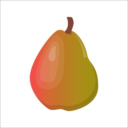 Big fresh pear on white background. Vector illustration in flat style Illustration