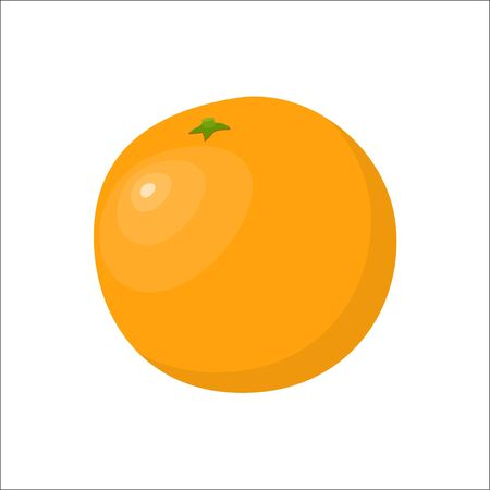 Orange fruit. Fresh orange isolated on white background, vector illustration in flat style Illustration