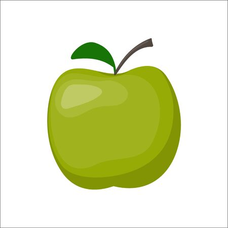 Green fresh apple isolated on white background, vector illustration in flat style Illustration
