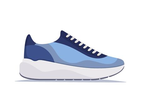 Modern trendy sneakers, side view. Fashion sneakers. Comfortable sports shoes. Vector illustration in flat style Foto de archivo - 145712916