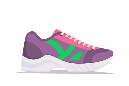 Modern trendy sneakers, side view. Fashion sneakers. Comfortable sports shoes. Vector illustration in flat style Ilustración de vector