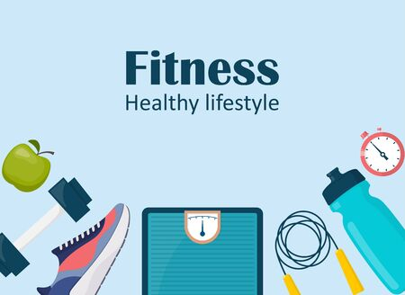 Fitness, sport, diet and healthy lifestyle banner with copy space and training equipment. Illustration